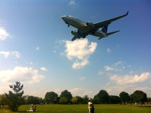 Plane landing at Reagan National Airport. Taken Saturday from Gravelly Point Park.